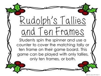 Kindergarten Christmas Math Center - Spin and Cover - Tallies and Ten Frames