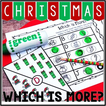 Kindergarten Christmas Math Center - Which is More?