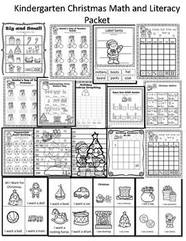 Christmas Math and Literacy Packet Kindergarten