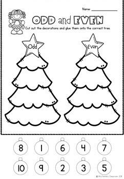 Kindergarten Christmas Maths Worksheets - No Prep