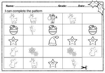 Kindergarten Christmas Math and Literacy Worksheets