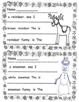 Kindergarten Christmas Pack (3 mini books & 2 morning work / homework pgs)