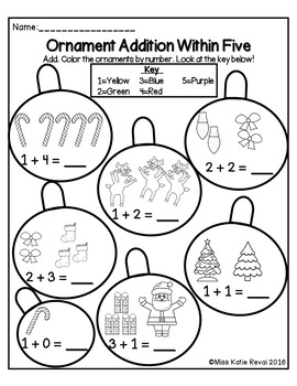 Kindergarten Christmas/Winter Addition to 10 Color by Number Worksheets