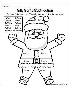 kindergarten christmas winter subtraction within 10 color by number worksheets. Black Bedroom Furniture Sets. Home Design Ideas