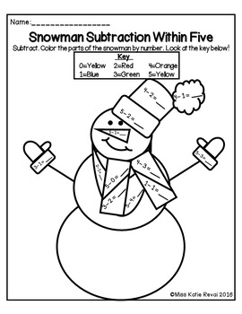 Kindergarten Christmas/Winter Subtraction Within 10 Color by Number Worksheets