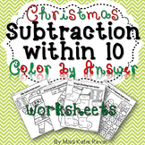 Kindergarten Christmas/Winter Subtraction Within 10 Color