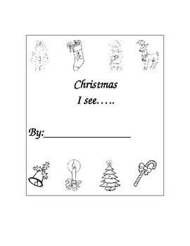 "Kindergarten ""Christmas....I See Sight Word Book For Reading and Writing"""