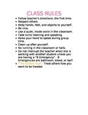 Kindergarten Class Rules