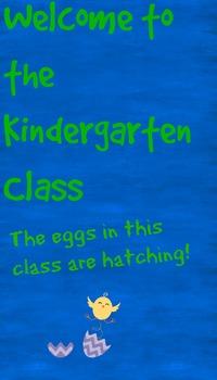 Kindergarten Class Welcoming Sign