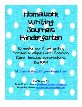 Kindergarten Class or Homework Writing Journals/Common Core Aligned