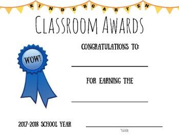 Kindergarten Classroom Award Certificate '17-'18