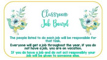 Kindergarten Classroom Job Board Aqua and Yellow Floral