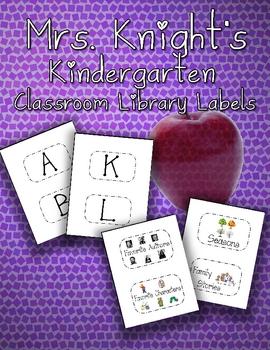 Kindergarten Classroom Library Tub Labels