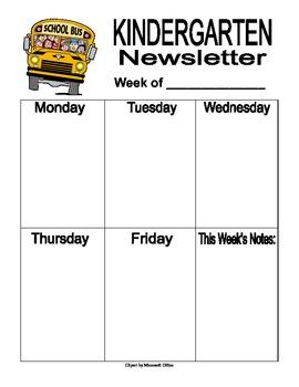 Kindergarten Classroom Newsletter