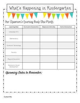 Kindergarten Classroom Newsletter Template