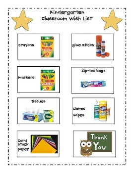 Kindergarten Classroom Wishlist