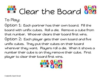 Kindergarten Clear the Board