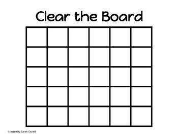 Kindergarten Clear the Board Subtraction Game