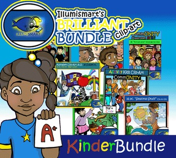 Kindergarten Clip-Art Bundle!  Kids and Objects! 194 pc. BW and Color!