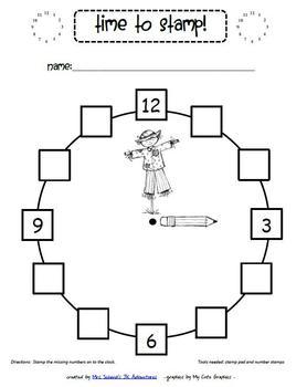 Kindergarten Clock Math Centre Printables