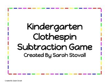 Kindergarten Clothespin Subtraction Game