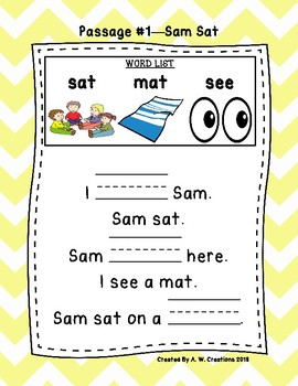Kindergarten Cloze Reading Passages ***FREEBIE***