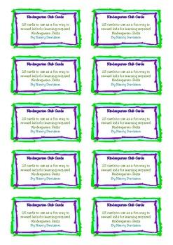 Kindergarten Club Cards