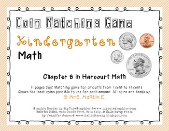 Kindergarten Coin Matching Game