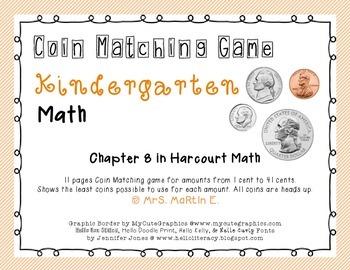 Kindergarten Coin Matching Game