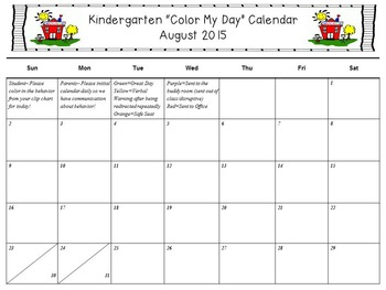 """""""Color My Day"""" Behavior Calendar *Editable* (pairs with all clip charts!!!)"""