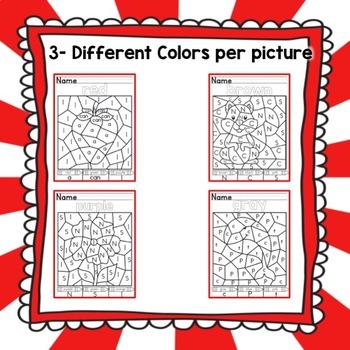 Kindergarten Color Week Color by Letter and High Frequency Word Coloring Sheets
