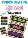 Kindergarten Color Words (Burlap Design) ONLY $1.00