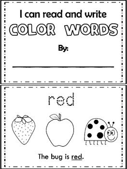 Kindergarten Color Words: Worksheets, Center Activities, Class Room ...