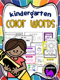 Kindergarten Color Words: Worksheets, Center Activities, C
