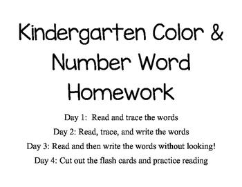 Kindergarten Color and Number Word Homework