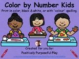 Kindergarten Color by Number Kids (Colour)