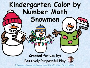 Kindergarten Color by Number Math Snowmen