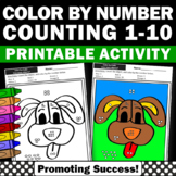 Kindergarten Color by Number Math Worksheets, Counting Objects to 10,  SPS
