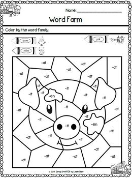 Kindergarten Color by the Code Literacy Worksheets