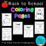 Kindergarten Coloring Page Pack (Back To School Theme)