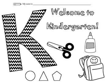 Kindergarten Coloring Sheet
