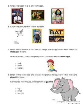 Kindergarten Common Assessment RL.2.4, RL.2.5, RL.2.6