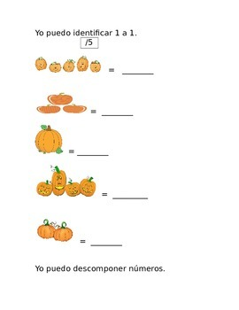 Kindergarten Common Core 1st 9 weeks Math Assessment in Spanish