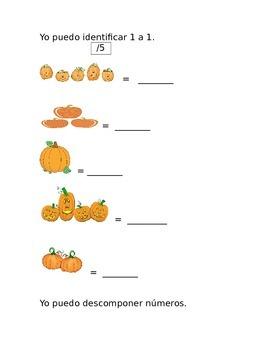 Kindergarten Common Core 1st 9 weeks Math Assessment in Spanish