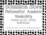Kindergarten Common Core Academic Vocabulary