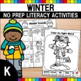 Winter Language Arts Worksheets Kindergarten