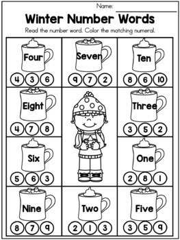 Winter Kindergarten Worksheets: winter math no prep worksheets by united teaching tpt,