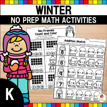 Winter Math Worksheets No Prep (Kindergarten)