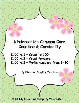 Kindergarten Common Core Assessment:  K.CC.A.1, K.CC.A.2,