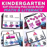 Kindergarten Math and Literacy Centers Poke Card Mega Bundle